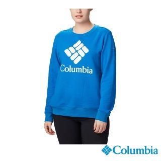 【Columbia 哥倫比亞】女款-LOGO長袖上衣-藍色(UAR12940BL / 保暖.防潑.休閒)