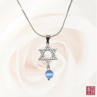 【金石工坊】幸運星星藍貓眼石閃鑽項鍊