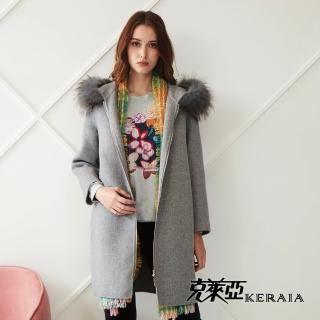 【KERAIA 克萊亞】蓬柔貉子毛領寬版羊毛毛料大衣