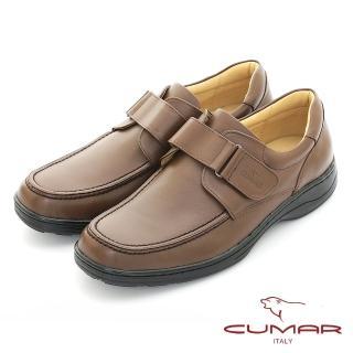 【CUMAR】真皮舒適 魔術貼帶真皮商務鞋(深咖色)
