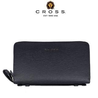 【CROSS】限量2折 頂級NAPPA小牛皮十字紋雙拉鍊手拿包 福利品特價 小包(黑色 99%新 專櫃展示品)