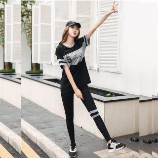 【狐狸姬】M-3XL修斯灰三件式長褲運動休閒-三件套長褲組(黑灰色)