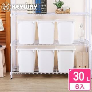 【KEYWAY】奧拉3號附蓋儲物盒30L-6入(霧透上蓋 收納盒 日式 無印風 MIT台灣製造)