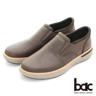 【bac】陽光型男 簡約設計真皮休閒鞋(咖啡色)