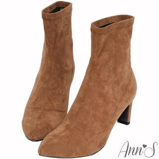 【Ann'S】慾望巴黎-防水絨布貼腿直跟襪靴(棕)