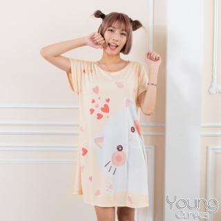 【Young Curves】牛奶絲質短袖連身睡衣(C01-100712貓咪愛吃魚)