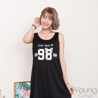 【Young Curves】彈性棉質無袖連身睡衣(C01-100690 98可愛熊)