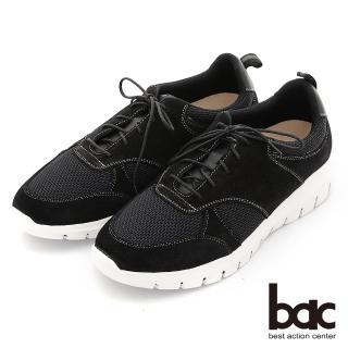 【bac】嚴選真皮 時尚針織輕量舒適休閒鞋(黑色)