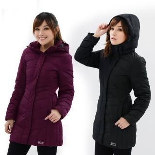 【遊遍天下】女款長版顯瘦防潑水防風禦寒羽絨外套 二色(M-5L)