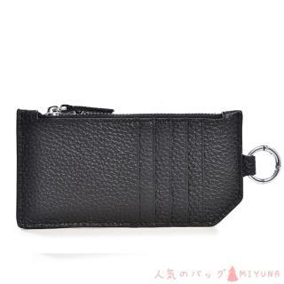 【MIYUNA 米友娜】真皮鑰匙卡包簡約Sandy(經典黑)