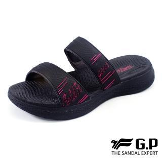 【G.P】女款Woman Walking輕量緩震雙帶拖鞋G0518W-黑桃色(SIZE:36-39 共二色)