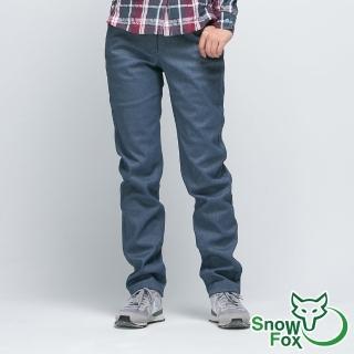 【SNOWFOX 雪狐】女款抗風透氣保暖彈性雪褲(RP-61455W深藍/舒適刷毛/防潑水/休閒長褲)