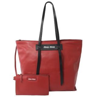 【MIU MIU】Grace Lux 經典LOGO子母大托特購物包(紅)