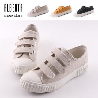 【Alberta】休閒鞋-MIT台灣製 帆布鞋面 魔鬼氈 平底休閒帆布鞋 餅乾鞋