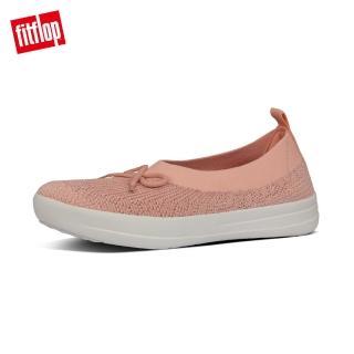 【FitFlop】UBERKNIT SLIP-ON BALLERINA WITH BOW 易穿脫舒適休閒娃娃鞋-女(珊瑚粉)