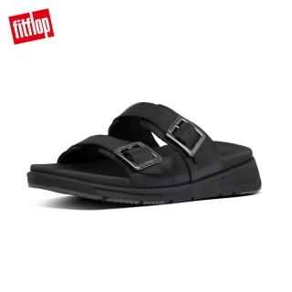 【FitFlop】ARLO ADJUSTABLE LEATHER SLIDES 經典扣環可調式涼鞋-男(黑色)
