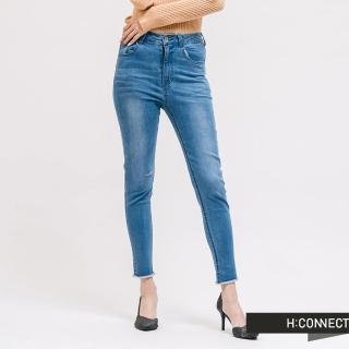 【H:CONNECT】韓國品牌 女裝 -割破造型不收邊牛仔褲(藍色)