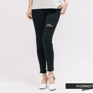 【H:CONNECT】韓國品牌 女裝 -破損造型高腰牛仔褲(黑色)