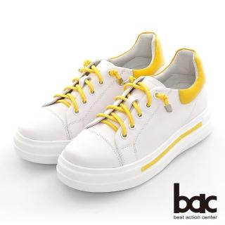 【bac】拼色彈力鞋帶厚底休閒鞋(黃色)