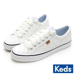 【Keds】JUMP KICK 薄紗格紋綁帶休閒鞋(白)