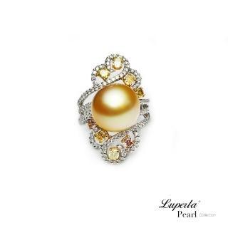 【大東山珠寶】燦爛月光 頂級真鑽18K白金南洋金珍珠戒指(18K天然鑽石南洋珍珠)