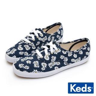 【Keds】CHAMPION 印花雛菊綁帶帆布鞋(海軍藍)