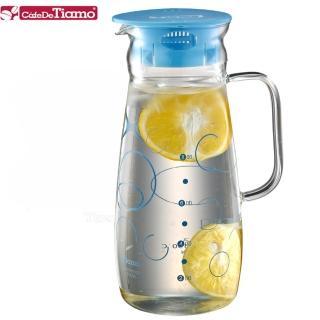 【Tiamo】幾何圖案玻璃水壺附把手 1.0L-藍色款(HG2214)