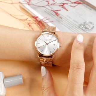 【ROSEFIELD】簡約典雅 日本機芯 日期 不鏽鋼手錶 銀白x鍍玫瑰金 33mm(ACSR-A14)
