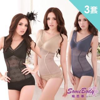 【尚芭蒂】M-XXL 350丹提托輕機能美體塑身背心+塑褲(超值3套組)