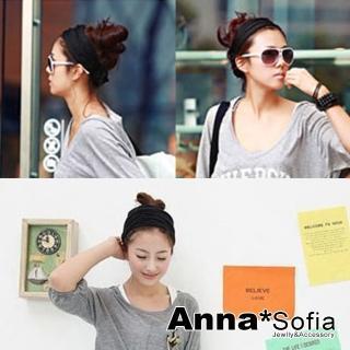【AnnaSofia】棉質彈性寬髮帶髮飾-韓版運動風款(酷黑)