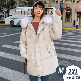 【LANNI 藍尼】現貨 韓版大尺碼毛毛科技羽絨外套-4色(羽絨外套)