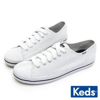 【Keds】KICKSTART 刺繡雛菊綁帶休閒鞋(白色)