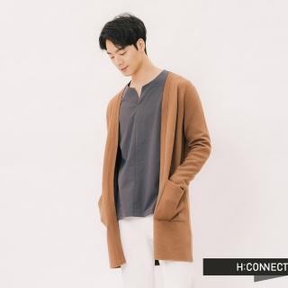 【H:CONNECT】韓國品牌 男裝 -素面開襟微長版針織外套(棕色)