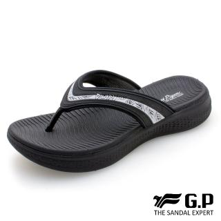 【G.P】女款Woman Walking輕量緩震夾腳拖鞋G0538W-黑色(SIZE:36-39 共三色)