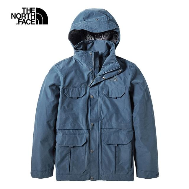 【The North Face】The North Face北面男款霧藍色防水透氣衝鋒衣|4979N4L