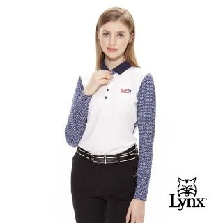 【Lynx Golf】女款抗UV吸汗速乾長袖滿版印花POLO衫(深藍色)