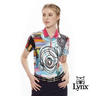 【Lynx Golf】女款義大利布料舒適拉鍊立領短袖POLO衫(黑色)