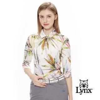 【Lynx Golf】女款義大利進口花布長袖POLO衫(白色)