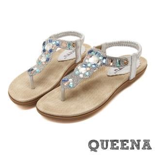【QUEENA】奢華晶鑽寶石T字舒適夾腳涼鞋(金)