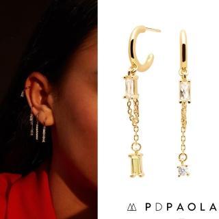 【PD PAOLA】西班牙時尚潮牌 祖母綠切割 垂墜式方鑽耳環 925純銀鑲18K金 Salma(925純銀鑲18K金)
