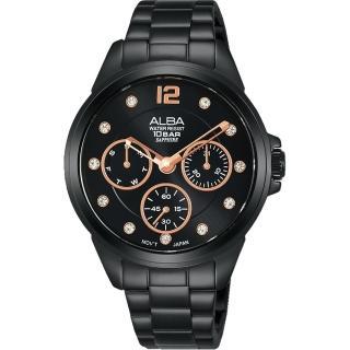 【ALBA】雅柏 施華洛世奇三眼計時女錶(AP6641X1/ VD75-X123SD)
