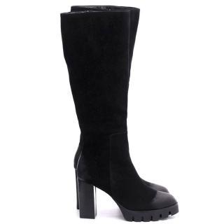 【FNACE】個性齒輪底台設計 素面磨砂牛皮 德比鞋過膝靴(百搭黑)