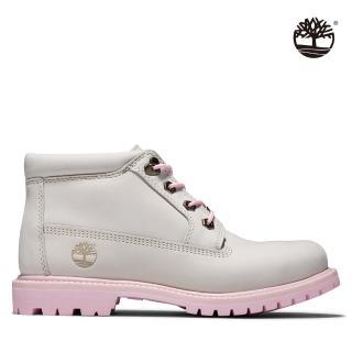 【Timberland】女款白色磨砂革 愛心短靴(A28H7143)