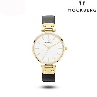 【MOCKBERG】瑞典品牌 34MM-白面金框黑色皮革錶(MO1007)