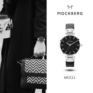 【MOCKBERG】瑞典品牌 34MM-黑面銀框黑色皮革錶(MO111)