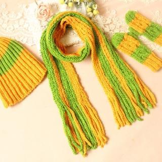 【Cute ii Lady】雙色編織毛線圍巾手套帽子(3件組)