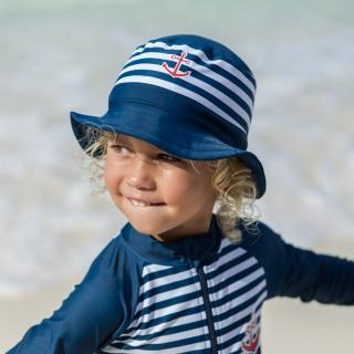 【德國Playshoes】嬰兒童抗UV防曬水陸兩用漁夫帽-海軍風(護頸遮脖遮陽帽泳帽)
