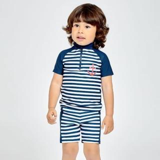 【德國Playshoes】抗UV防曬短袖兩件組兒童泳裝-海軍風(認證UPF50 泳衣+泳褲)