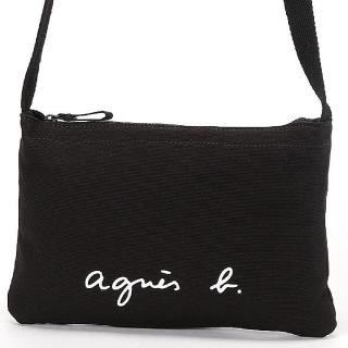 【agnes b.】Voyage 帆布 logo 拉鍊斜背包 黑
