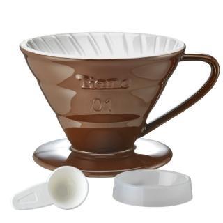 【Tiamo】V01陶瓷雙色咖啡濾器組 附滴水盤量匙 1-2人-咖啡色(HG5543BR)